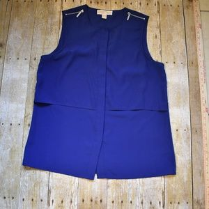 Michael Kors Royal Blue Dress Top w/ Zip Shoulder